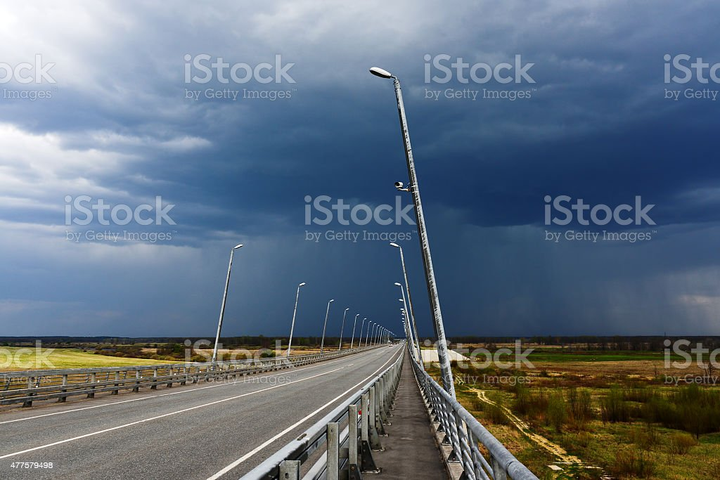 road before the storm day stock photo
