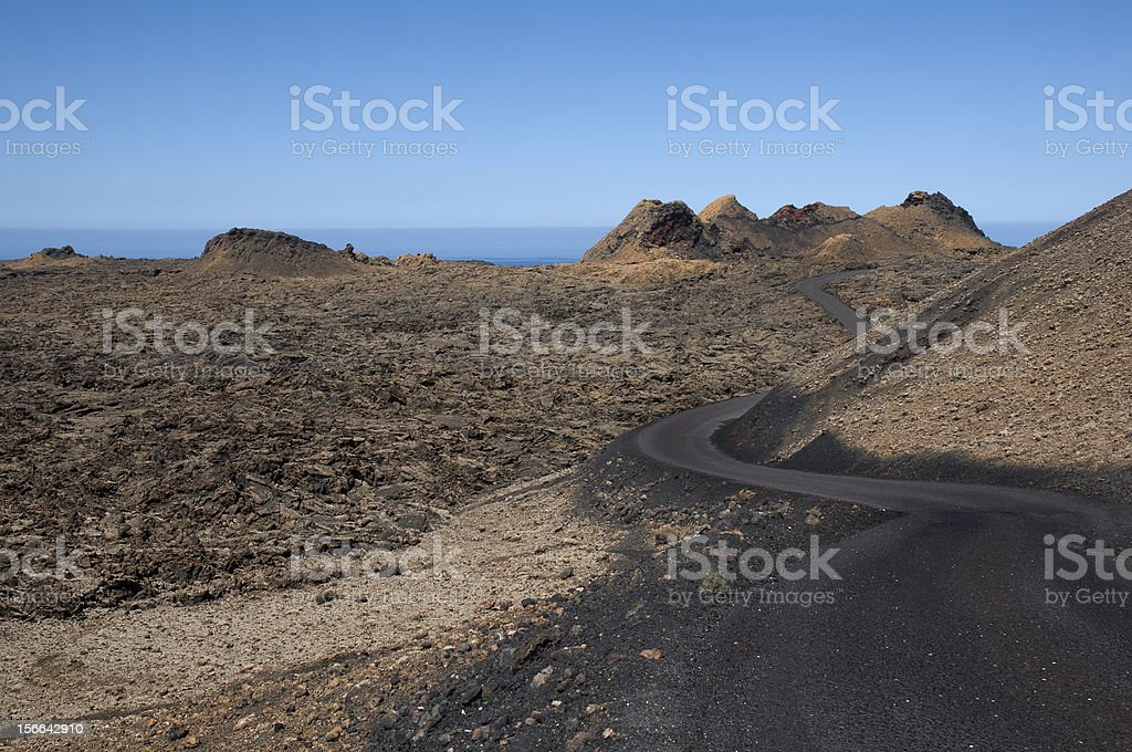 Road between volcanos royalty-free stock photo