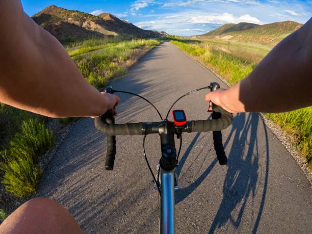 Road Bike Cycling on Recreation Path stock photo