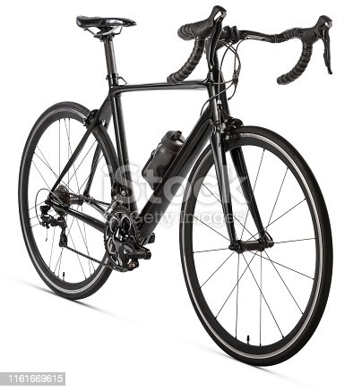 Road bike.  Isolated on a white background.  Insert your own logo/branding.