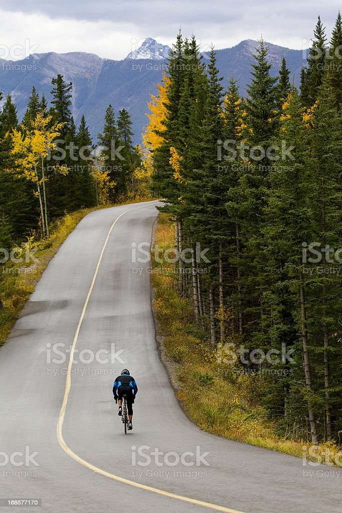 Road Biking in Banff National Park stock photo