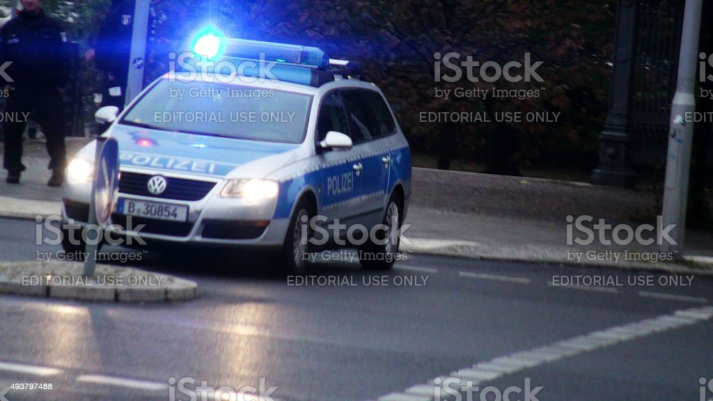 Road Blocked By German Police Car Plus Police Siren Flashing.Berlin stock photo