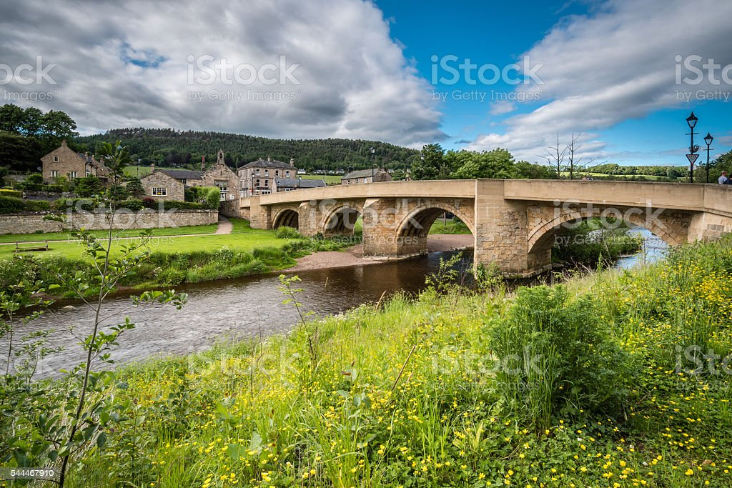 Road bridge at Rothbury stock photo