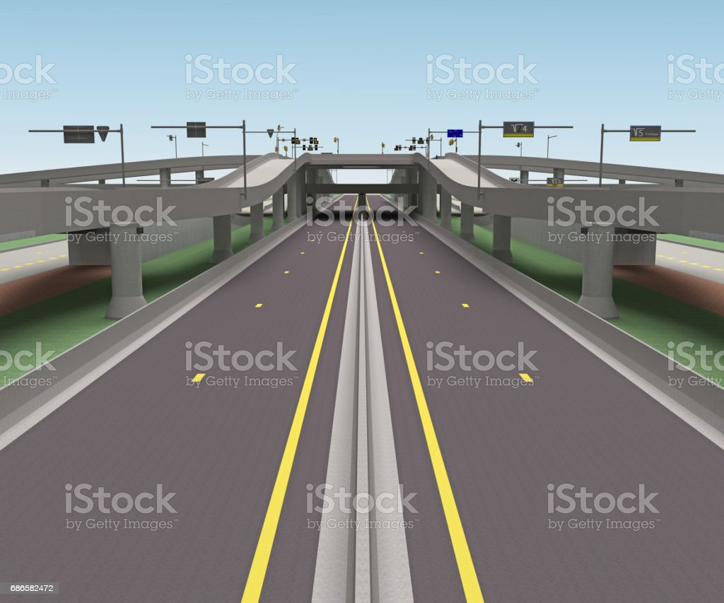 road bridge intersection 3d rendering royalty-free stock photo