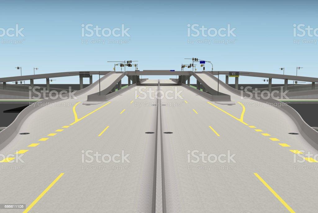 road bridge intersection 3d rendering royalty-free stock photo