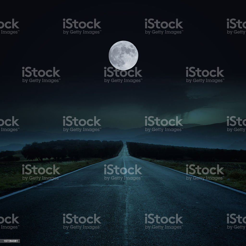 Road by night stock photo