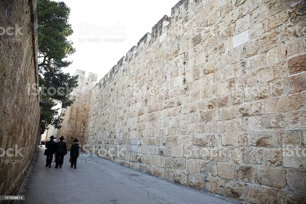 Road by Old Jerusalem Walls royalty-free stock photo