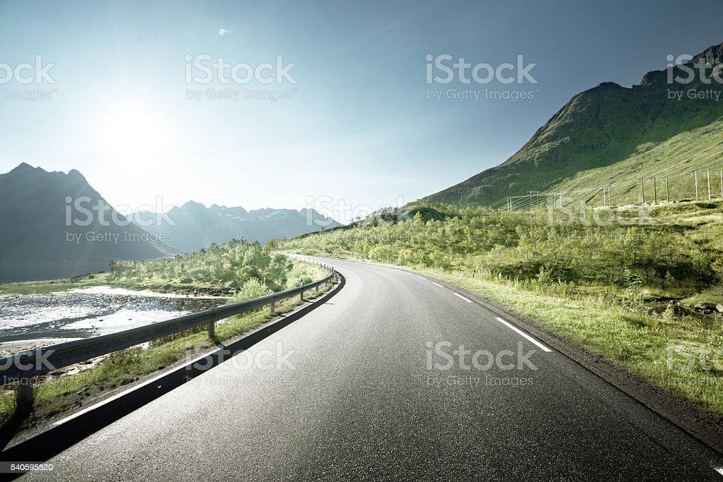 road by the sea, Lofoten island, Norway stock photo