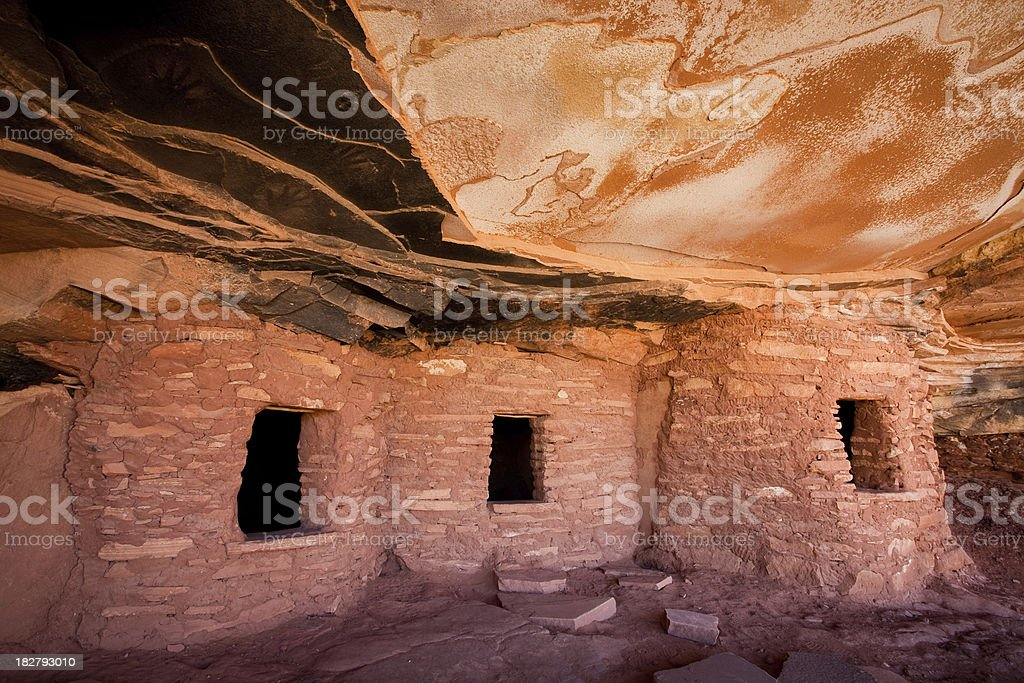Road Canyon Fallen Roof Ruin and Handprints stock photo