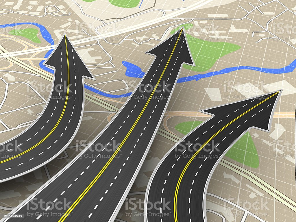 road choice 3d illustration of road choice concept over map background Abstract Stock Photo