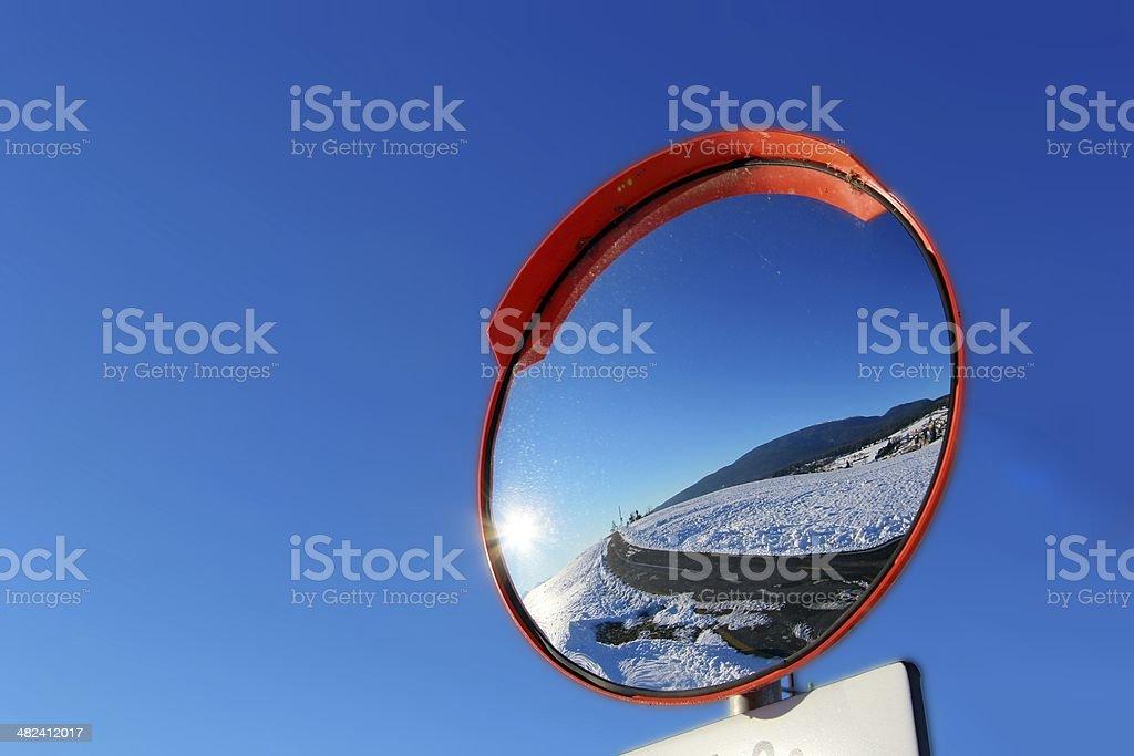 Road circular mirror stock photo