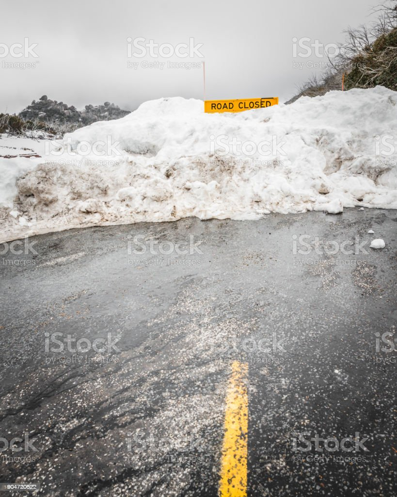 Road Cloased Warning traffic sign. stock photo