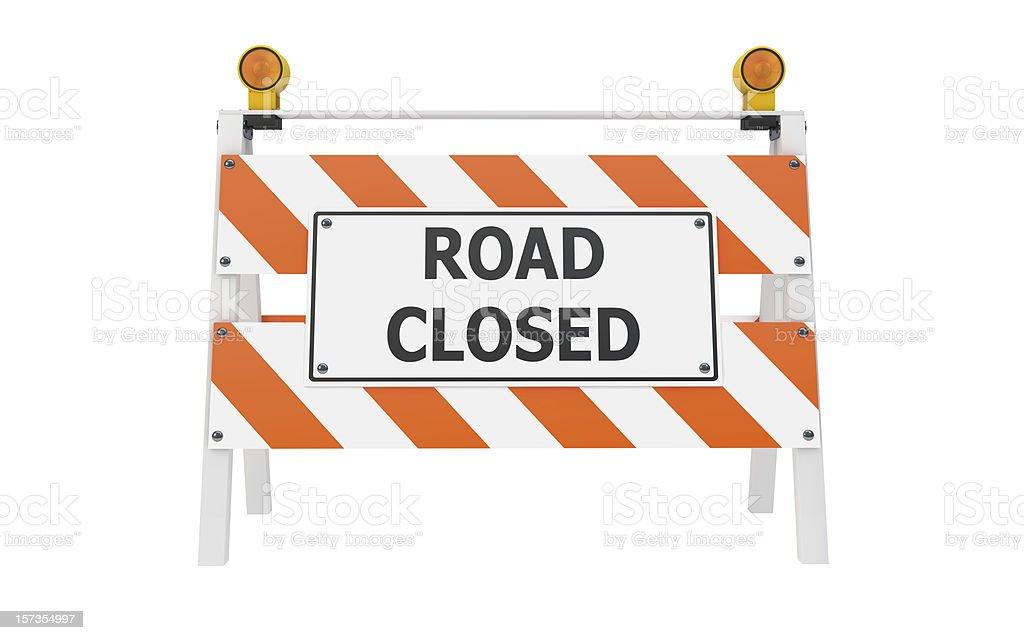 Estrada fechada Barricade construção - foto de acervo