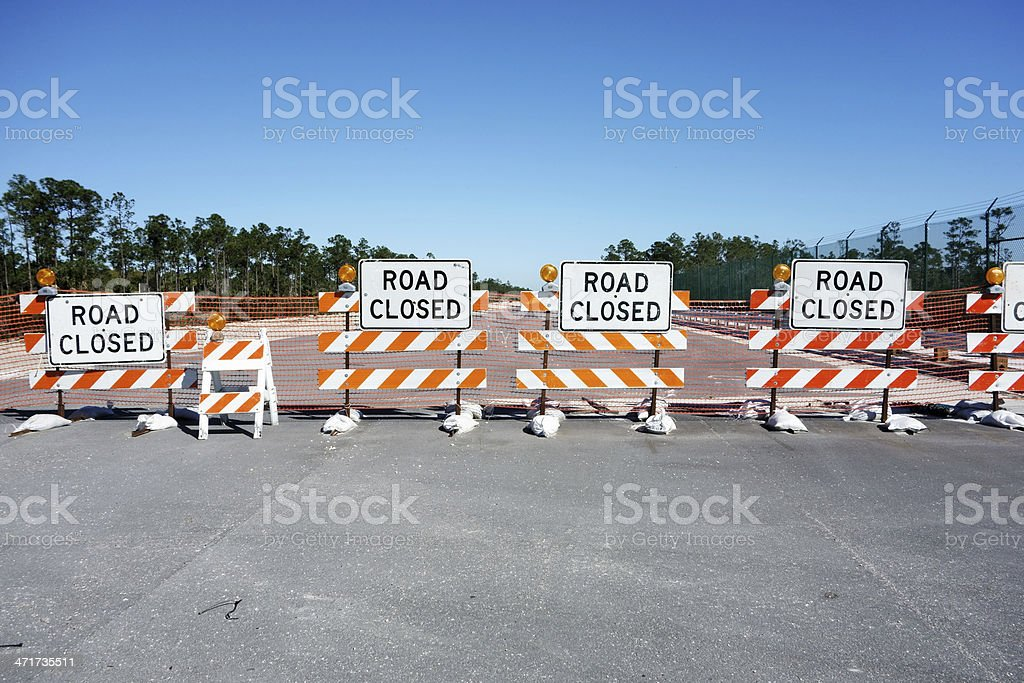 Road Closed barricades stock photo