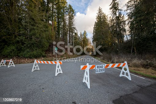Road closed by barriers blocking access wide angle