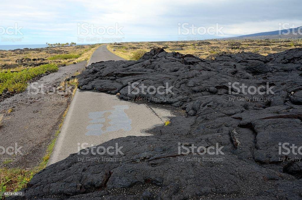 Road closed by lava flow, Big Island, Hawaii stock photo