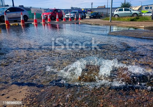 Road closed due to damage from a burst water main