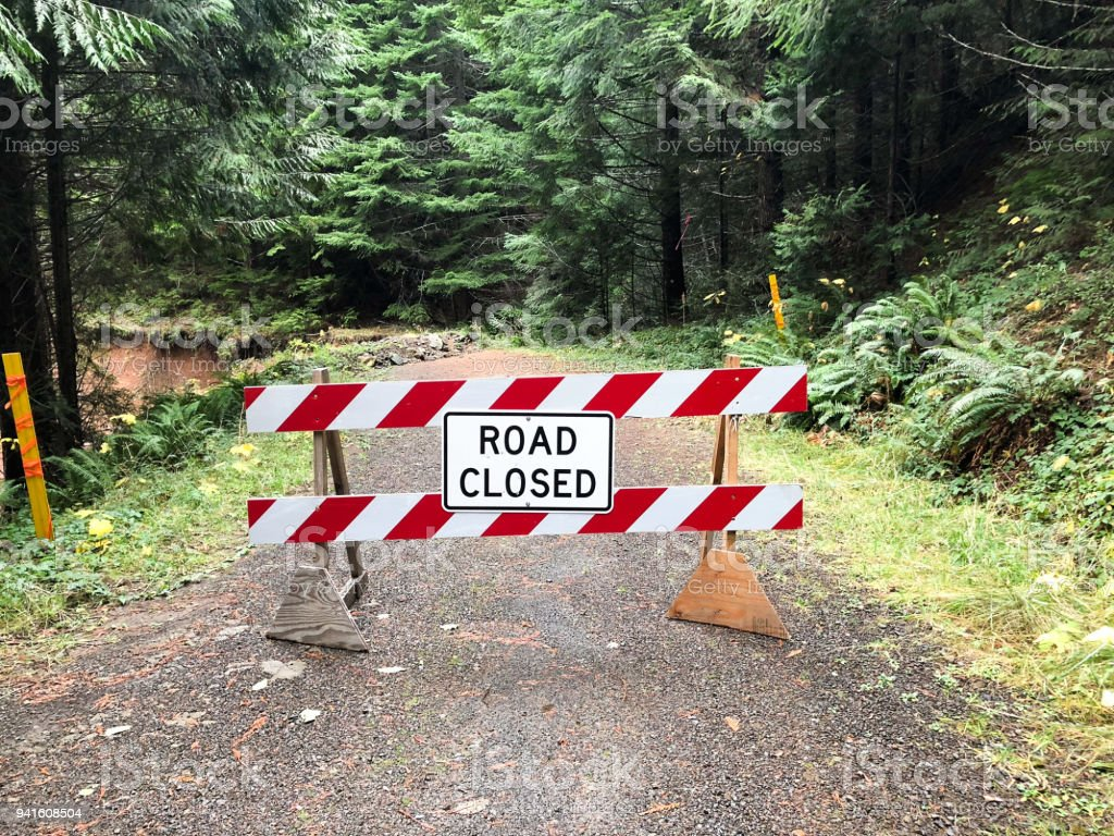 Road Closed Due To Landslide in Oregon stock photo