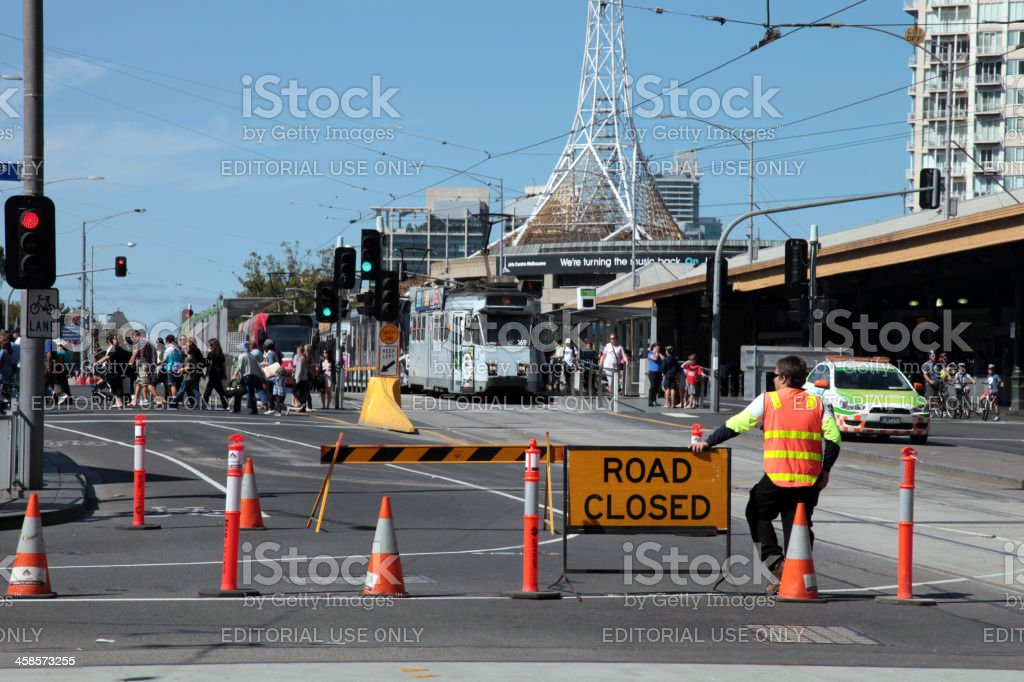 Road closed for a parade stock photo