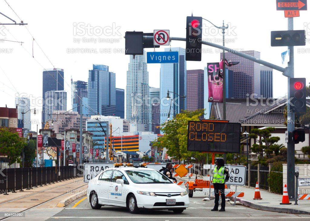 Road closed in Los Angeles stock photo