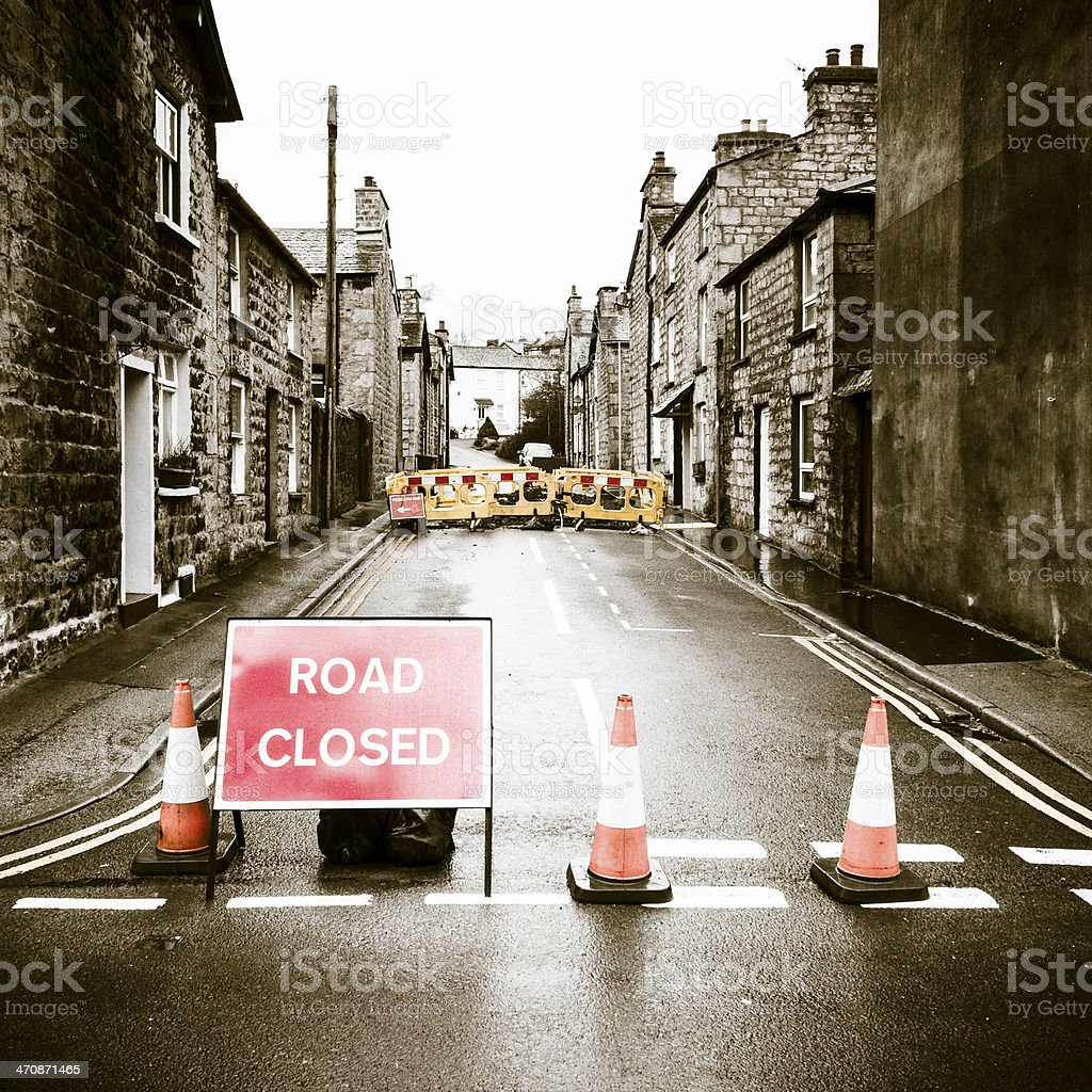 Road closed (roadworks) stock photo