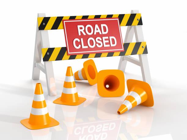 Road Closed Blocco stradale - foto stock