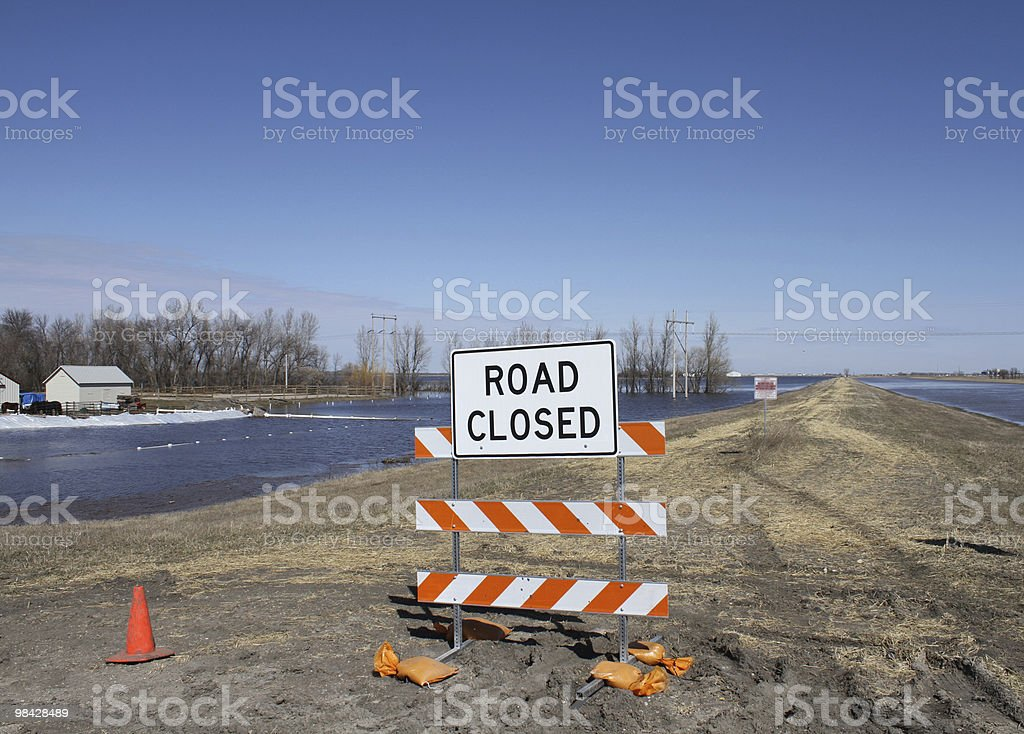road closed sign flood royalty-free stock photo