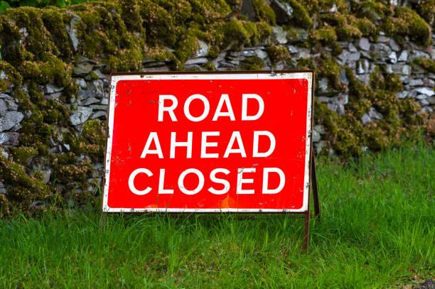 UK road closed sign stock photo