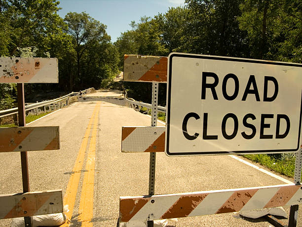 Road Closed Signage stock photo