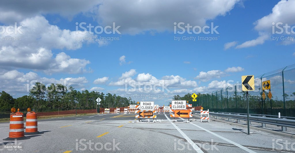 Road closed signs and  barricades stock photo
