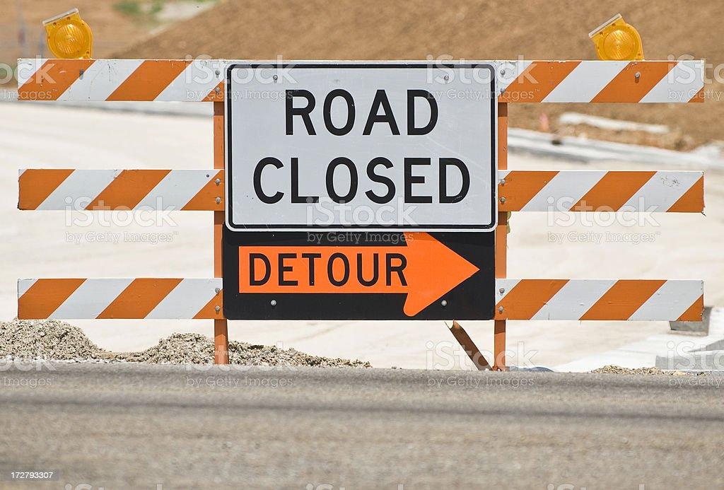 Estrada fechada/Detour-placa em inglês - foto de acervo