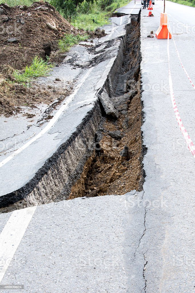 Road collapses stock photo