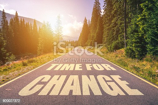 istock Road concept - time for change, image of a road to the horizon with text time for change 920027372