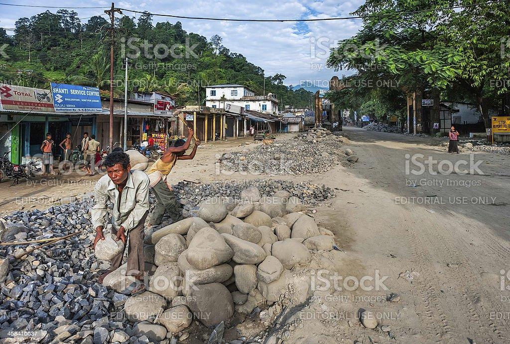 Road construction at Bhalukpong border control, Assam, India. stock photo