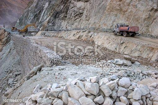 Road Construction at Mountain in Tajikistan