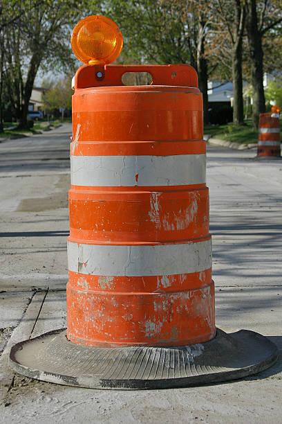 Road Construction Barrel stock photo