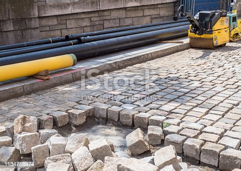 Road construction cobblestone