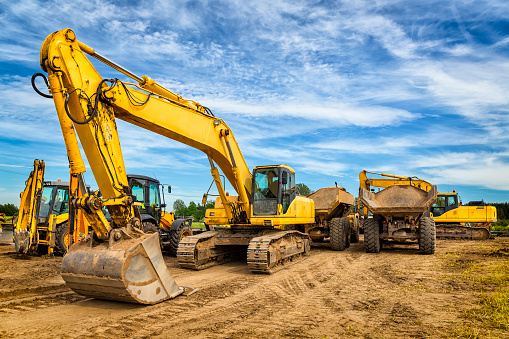 Road construction machinery on the construction of highway S6, Koszalin, Poland