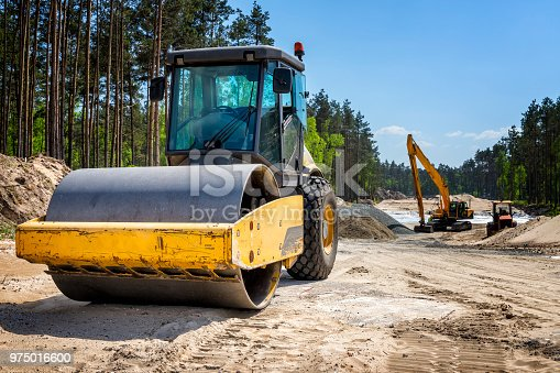Road construction machinery on the construction of highway S6 in Koszalin, Poland