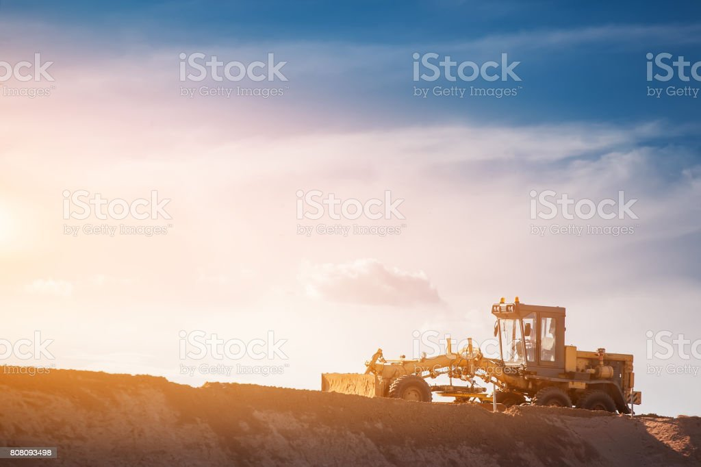 Road construction machines. Grader. stock photo