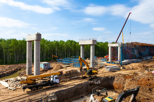 Transport interchange construction in Moscow, Russia