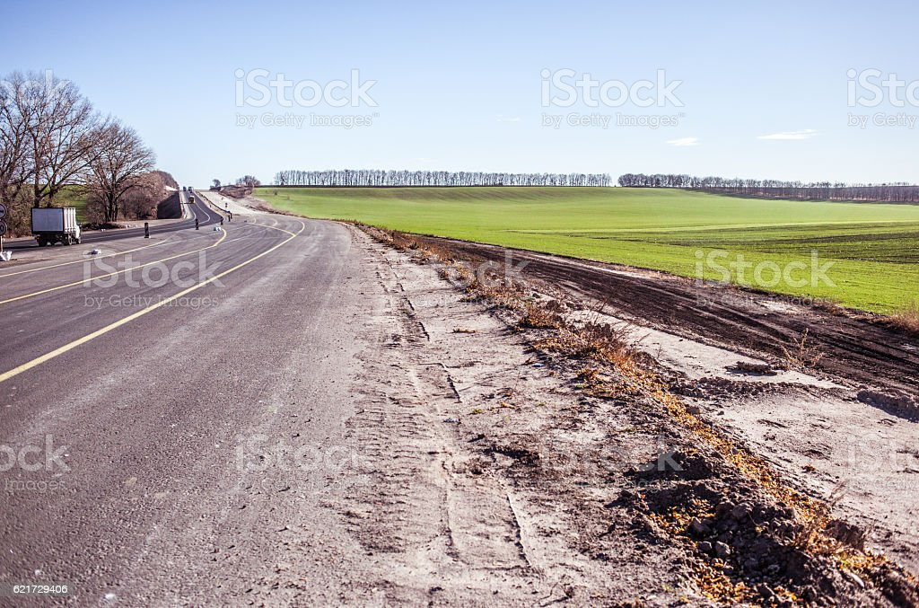 Road Construction Process Highway Repair And Maintenance Stock Photo