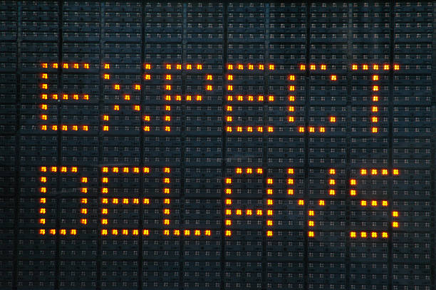 Road construction sign telling motorists to expect delays stock photo