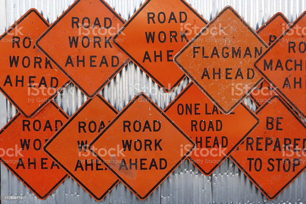 Road construction Signs royalty-free stock photo