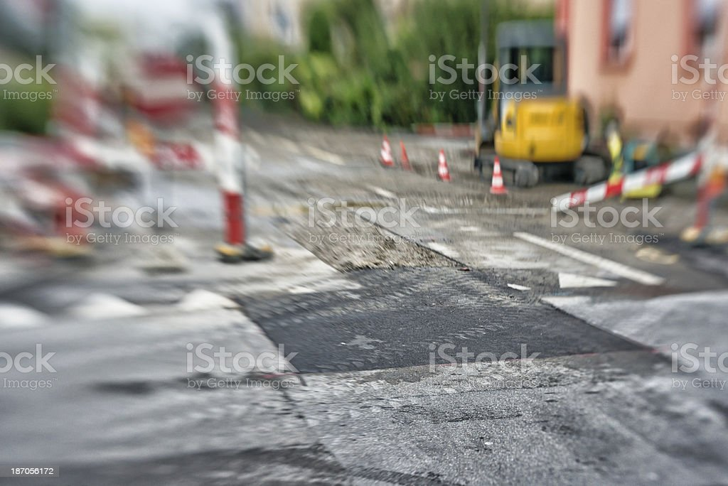 road construction site in Switzerland stock photo