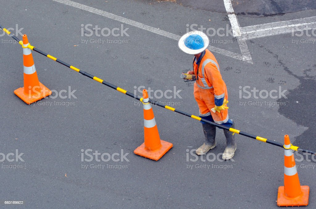 Road construction worker on city street royalty-free 스톡 사진