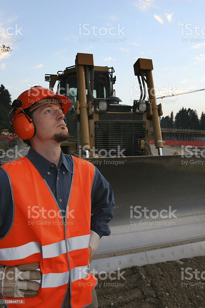 Road construction worker royalty-free stock photo