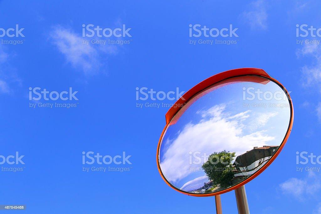 road convex mirror stock photo