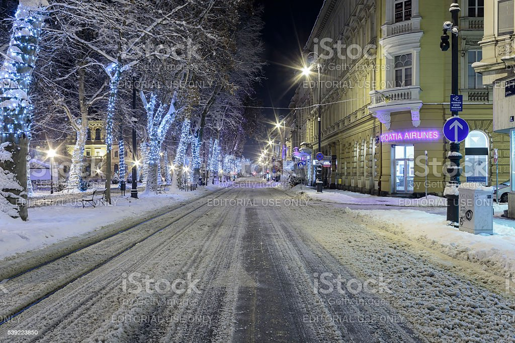 Road covered with snow stock photo