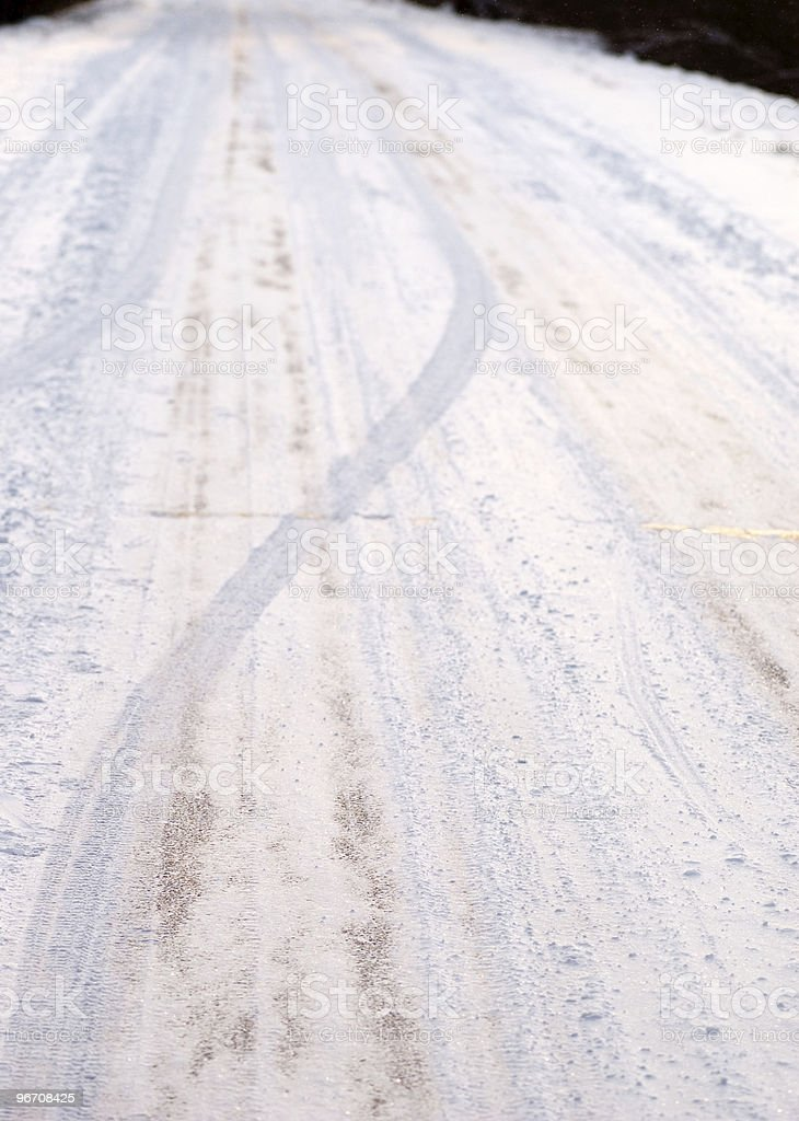Road covered with snow royalty-free stock photo